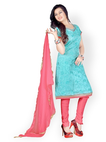 Florence Blue & Peach-Coloured Chanderi Cotton Semi-Stitched Dress Material at myntra