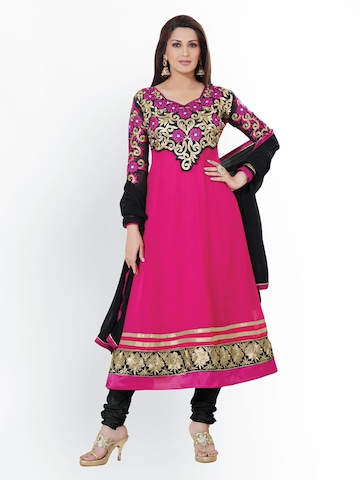 Florence Pink & Black Georgette Unstitched Anarkali Dress Material at myntra