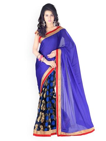 Florence Blue Jacquard Fashion Saree at myntra