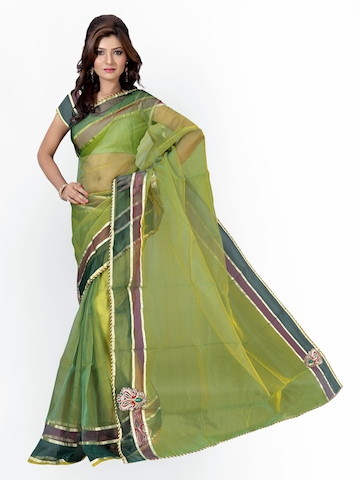 Florence Green Tissue Fashion Saree at myntra