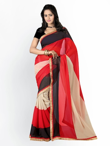 Florence Multicoloured Printed Georgette Fashion Saree at myntra