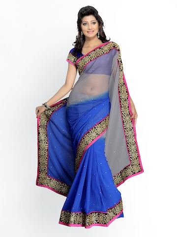 Florence Blue Embroidered Chiffon Fashion Saree at myntra