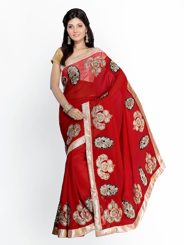 Florence Red Embroidered Chiffon Fashion Saree at myntra