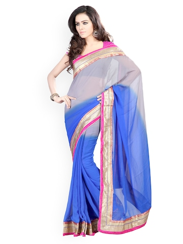 Florence Blue & Grey Ombre-Dyed Chiffon Fashion Saree at myntra