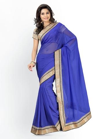 Florence Blue Chiffon Fashion Saree at myntra