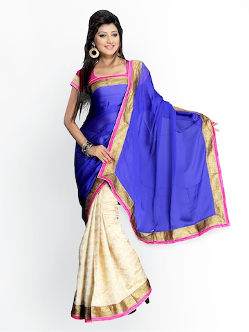 Florence Blue & Cream Coloured Satin Fashion Saree at myntra