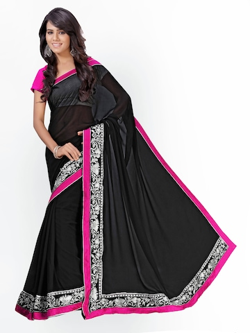 Florence Black Georgette Fashion Saree at myntra
