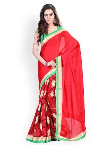 Florence Red Jacquard Fashion Saree at myntra