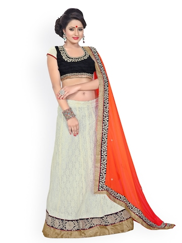 Florence White & Pink Embroidered Net Partywear Lehenga Saree at myntra