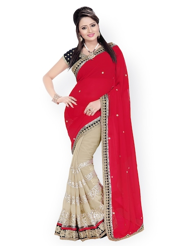 Florence Red & Beige Embroidered Chiffon Partywear Saree at myntra