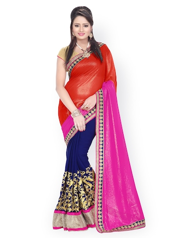 Florence Red & Navy Embroidered Chiffon Partywear Saree at myntra