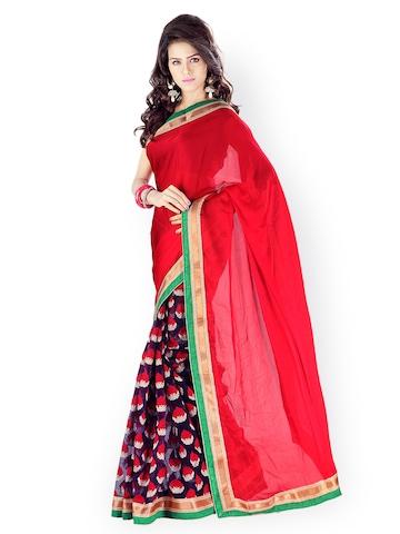 Florence Red & Navy Jacquard Fashion Saree at myntra