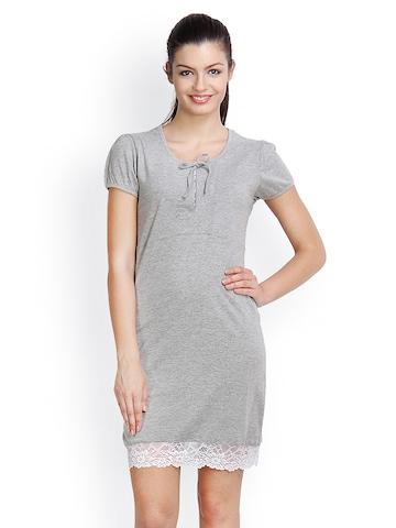 Floret White & Grey Printed Nightdress 040