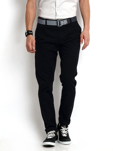 Flying Machine Men Black Slim Fit Trousers at myntra