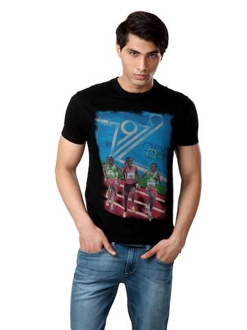 Flying Machine Men Black T-shirt