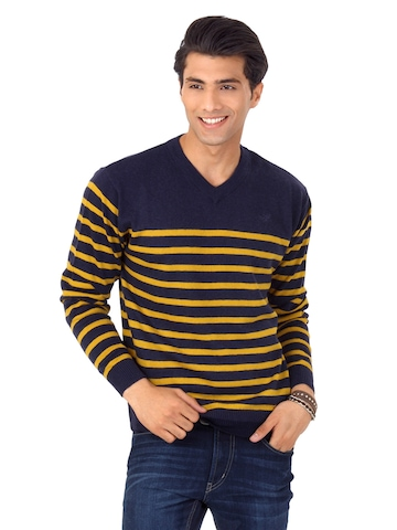 Flying Machine Men Navy Blue Striped Sweater at myntra