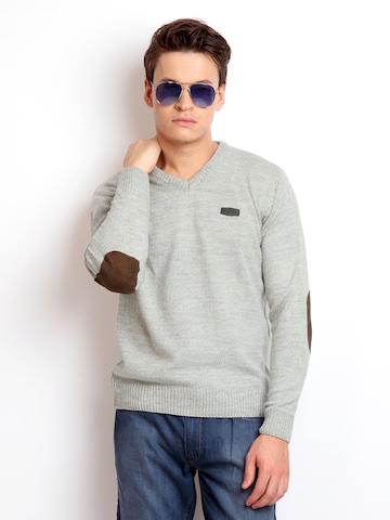 Flying Machine Men Grey Melange Sweater