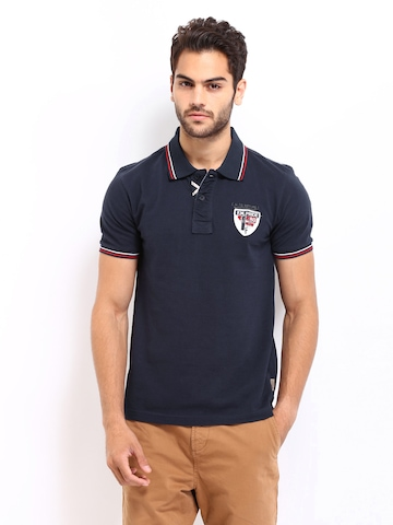 Flying Machine Men Navy Pique Polo T-shirt at myntra