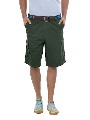 Flying Machine Men Olive Green Cargo Shorts at myntra