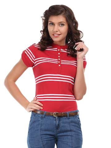 Flying Machine Women Red & White Striped Top