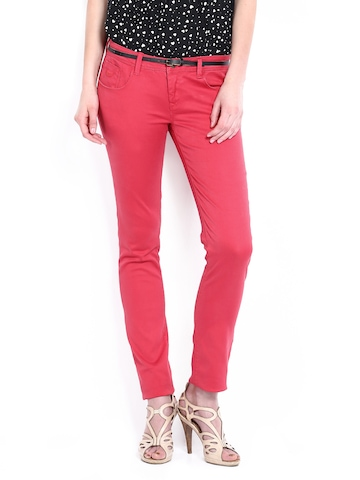 Flying Machine Women Red Twiggy Super Skinny Fit Trousers at myntra