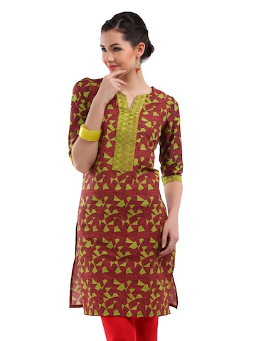Folklore Women Red & Fluorescent Green Printed Kurta