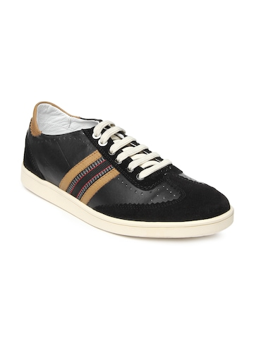 Franco Leone Men Black Leather Casual Shoes at myntra