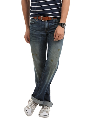 French Connection Men Blue paint Stained Regular Fit Jeans