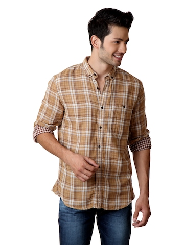 French Connection Men Brown Check Shirt