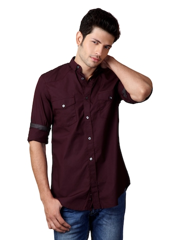 French Connection Men Burgundy Shirt