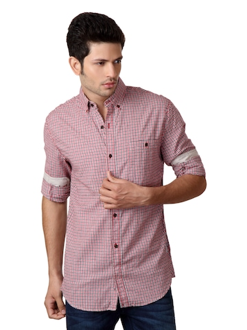 French Connection Men Red Check Shirt