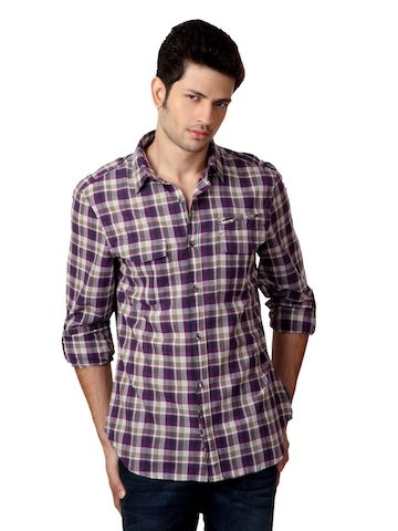 French Connection Men Purple & Brown Shirt