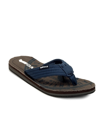 Gas Men Brown & Blue Flip Flops