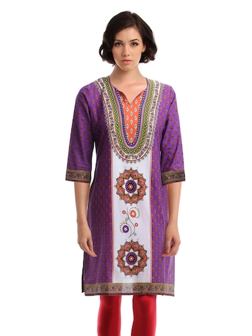 Global Desi Women Purple & White Kurta