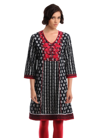 Global Desi Women Black Printed Kurta