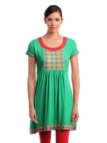 Global Desi Women Printed Green Tunic