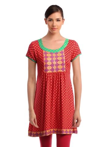 Global Desi Women Red Printed Tunic