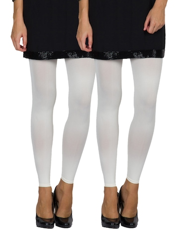 Golden Girl Women Set of Two Off-White Leggings at myntra