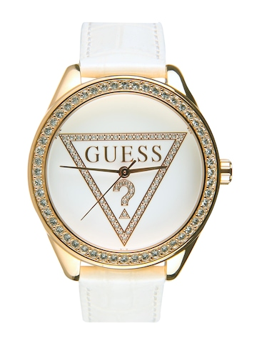 Guess Women Mini Triangle White Dial Watch with Swarovski Elements W75030L1