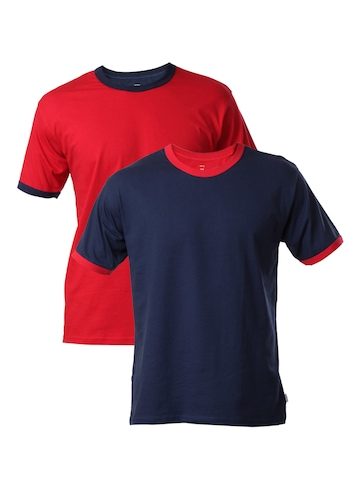 Hanes Men Pack of 2 Contrast Piping Ringer T-shirts