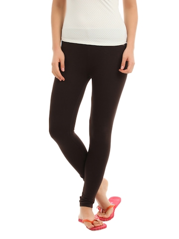 Hanes Women Brown ComfortSoft Waistband Cotton Stretch Full Leggings