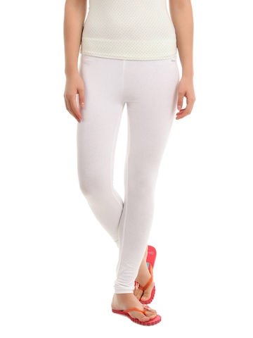 Hanes Women White ComfortSoft Waistband Cotton Stretch Full Leggings
