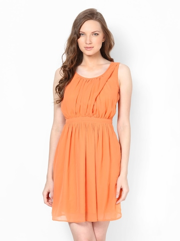 Harpa Orange Fit and Flare Dress