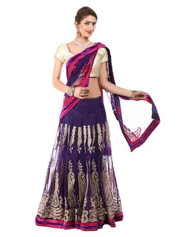 Hiba Purple & Pink Embroidered Net Lehenga Saree