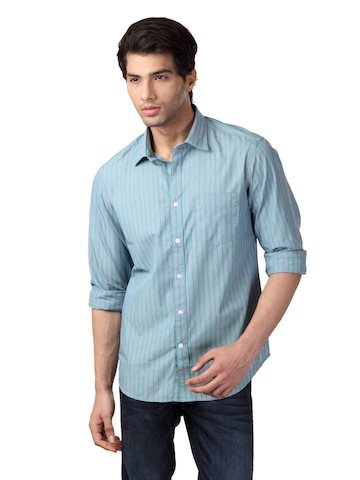 Indian Terrain Men Striped Blue Slim Fit Shirt