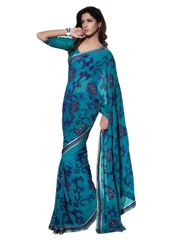 Indian Women Blue Sari