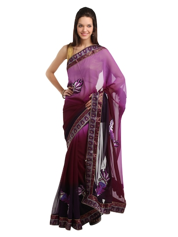 Indian Women Purple Sari