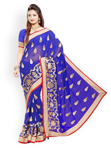 Ishin Blue Printed Faux Chiffon Fashion Saree at myntra