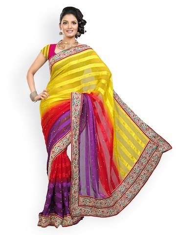 Ishin Multi-Coloured Embroidered Georgette Fashion Saree at myntra