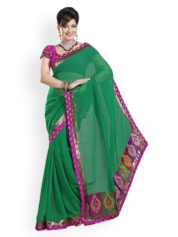 Ishin Green Chiffon Partywear Saree at myntra